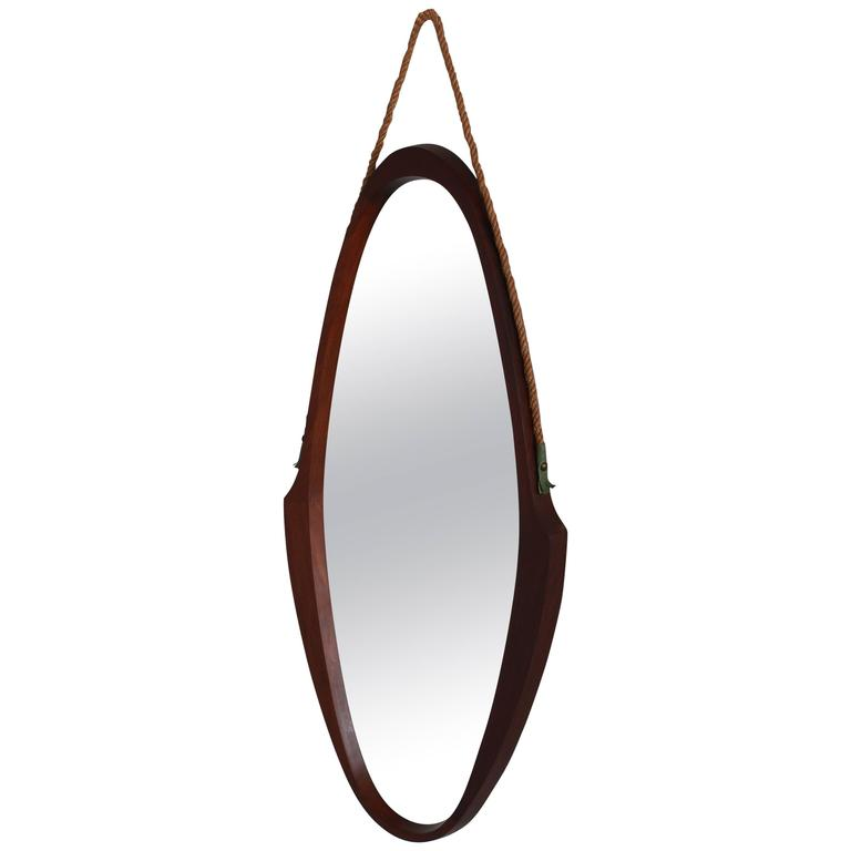 Italian Teak and Rope Mirror For Sale