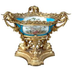 19th Century French Sevres Bowl in Ormolu Mounts