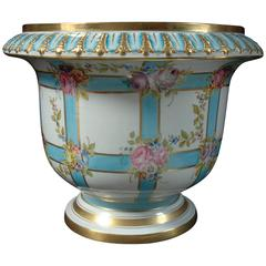 Sevres Large Jardinière with Blue Bandings and Pink Flowers