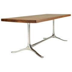 Antique Hardwood Desk with Aluminium Sand Cast Base 'IN STOCK' by P. Tendercool