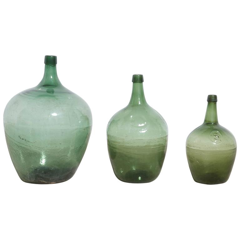 Set of Three Olive Green Wine Demijohns, Mecklenburg, Germany