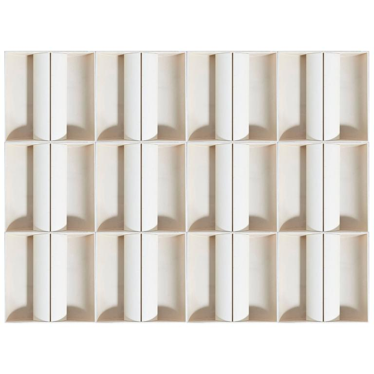 Architectural Set of 12 White Metal Wall-Lights, Ceiling-Lights, France, 1970s