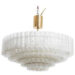 Large Five Tiers Ice Granulated Glass Tube Chandelier Designed by Doria, Germany