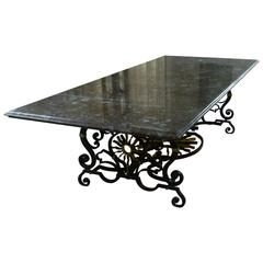 1940s Table in Marble and Wrought Iron with Sun Pattern by Gilbert Poillerat