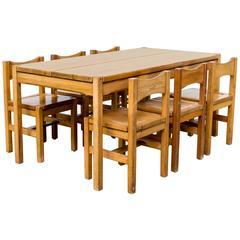Ilmari Tapiovaara Pinewood Dinner Set One Table and Six Chairs for Laukaan Puu