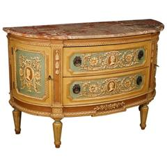 20th Century Demilune Lacquered Dresser in Louis XVI Style
