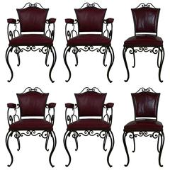 Series of Four Armchairs and Two Wrought Iron Chairs by JC Moreaux
