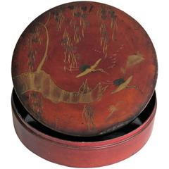 19th Century Papier Mâché, Lidded Box, Hand-Painted and Lacquered, Japanese