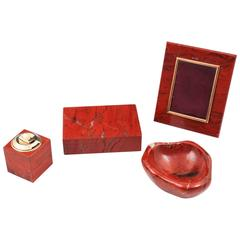 Asprey & Co Vintage Jasper four-piece Desk Set Photo Frame Lighter Ashtray Box