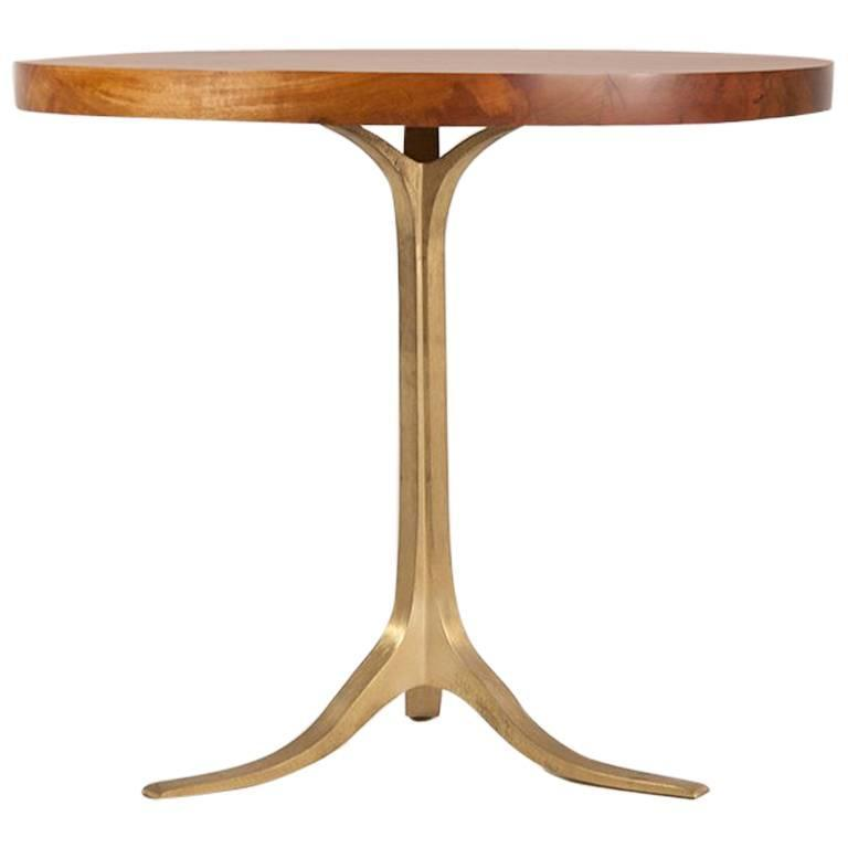 Round Table in Reclaimed Hardwood, Sand-cast Brushed Brass Base, by P.Tendercool 1