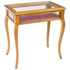 Stunning Vintage Satinbirch Display Bijouterie Table