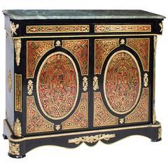 Vintage Louis Revival Boulle Marble-Top Side Cabinet