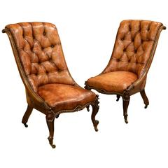Pair of 19th Century Leather Rosewood Chairs