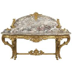 Louis XV Style Carved Giltwood and Gilt-Bronze Mounted Console Table