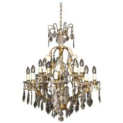 French Sixteen-Light Antique Cage Antique Chandelier