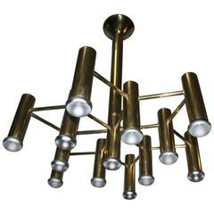 Boulanger Design Minimal Design Chandelier, 1970 Brass
