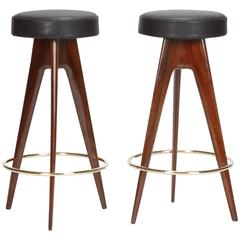Pair of Mahogany Bar Stool Attributed Ico Parisi, 1950s