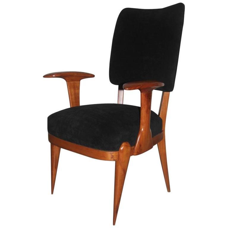 Presidential Armchair Cherry 1950s Italian Design Melchiorre Bega Style  For Sale