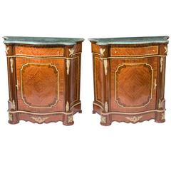 Beautiful Pair of Mahogany and Rosewood Serpentine Cabinets