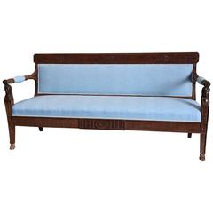 Late 18th Century Rare Walnut Italian Sofa 'Canape' of Neoclassical Design