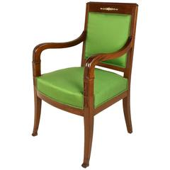 Empire Mahogany Fauteuil or Armchair