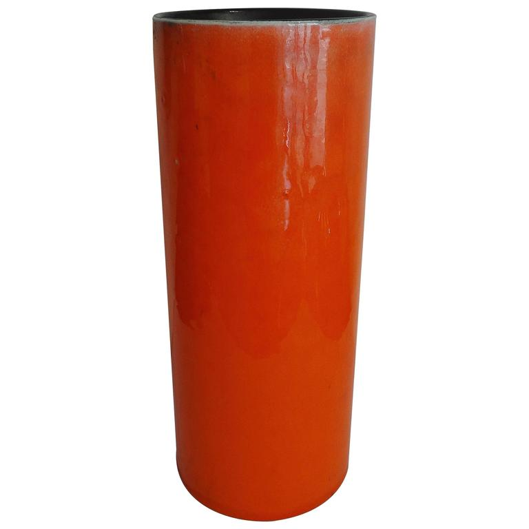 High Orange Cylinder Vase by Georges Jouve, circa 1956