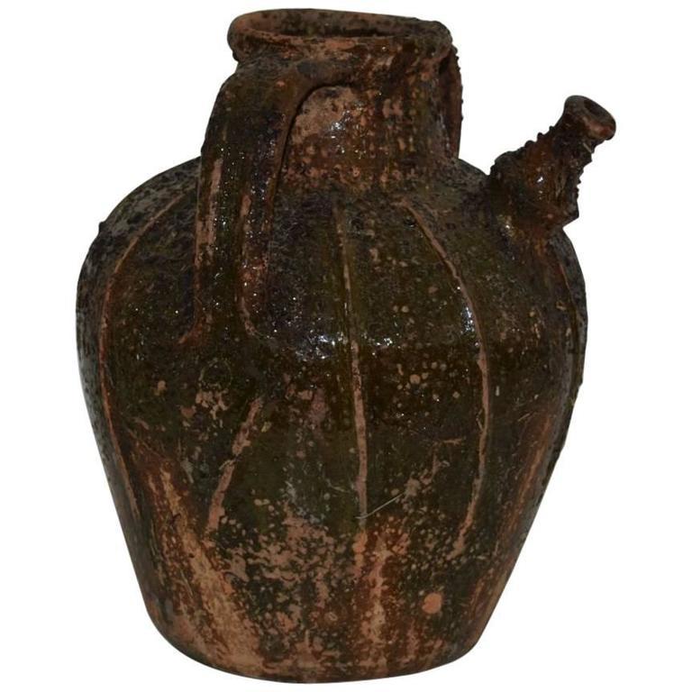 18th Century French Glazed Terracotta Walnut Oil Jug