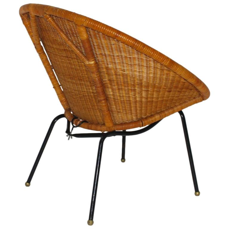 Mid Century Modern Italian Woven Rattan Club Chair, 1950s For Sale