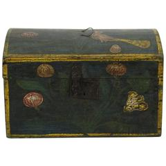 19th Century French Folk Art Weddingbox with a Bird from Normandy