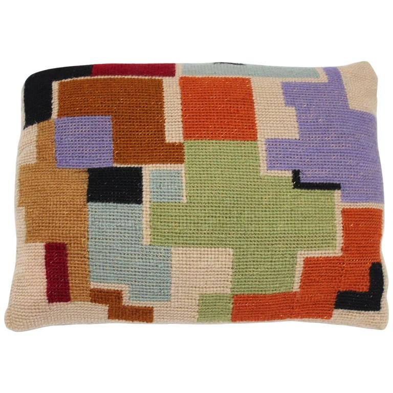 Bauhaus Multicolored Hand Embroidery Wool Pillow with Geometric Design, 1920s For Sale