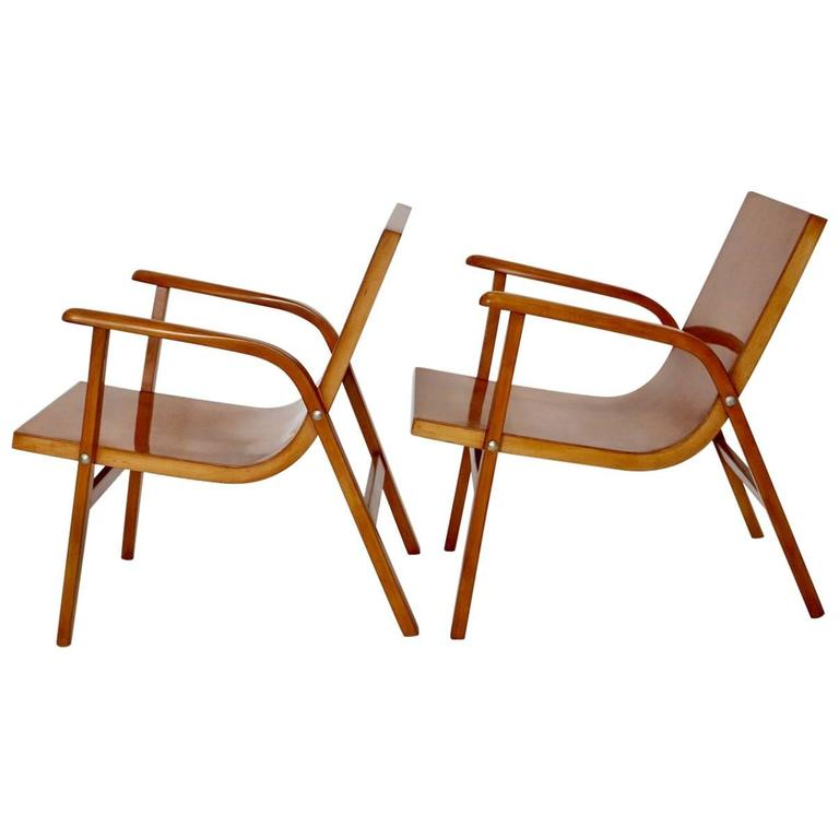 Mid-Century Modern Wooden Roland Rainer Lounge Chairs, 1952, Vienna For Sale