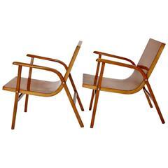 Mid-Century Modern Wooden Roland Rainer Lounge Chairs, 1952, Vienna