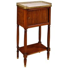 20th Century French Nightstand in Mahogany with Marble Top