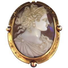 Antique Shell Cameo Brooch, circa 19th Century