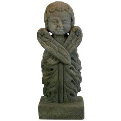 18th Century French Carved Sandstone Angel