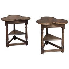 Pair of Antique Shamrock Walnut End Tables