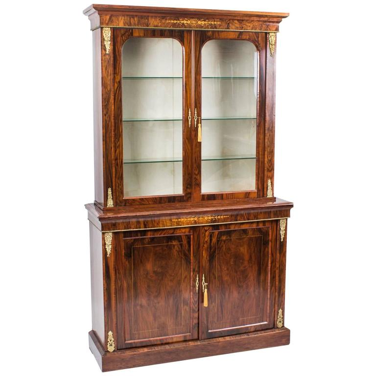 19th Century Burr Walnut and Inlaid Bookcase Display Cabinet