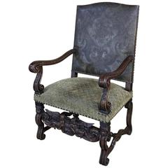 19th Century, French, Louis XIII Hand-Carved Walnut Angel Armchair
