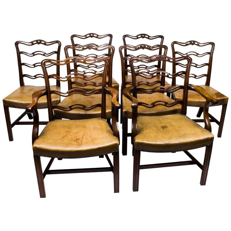 Antique Chippendale Dining Room Furniture: Antique Set Of Eight Chippendale Ladderback Dining Chairs