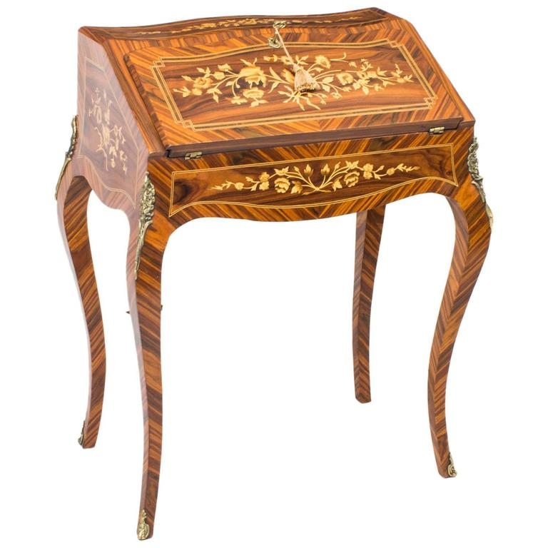 Vintage french walnut louis xv style marquetry bureau at for Bureau in french