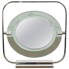 Vintage Chrome and Green Tinted Glass Vanity Mirror Engraved by Christian Dior
