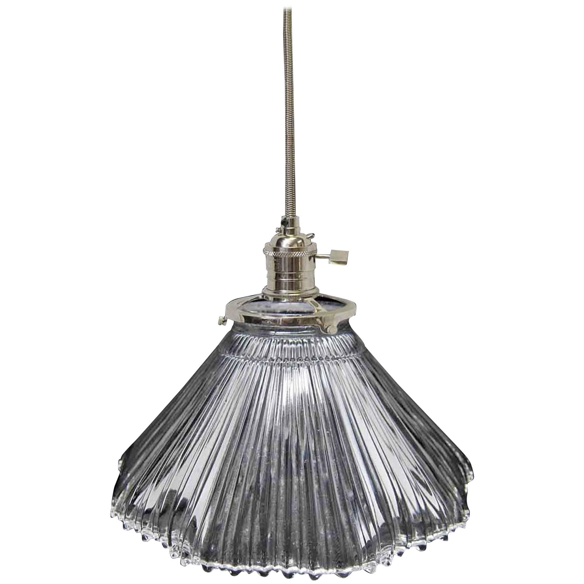 1920s Holophane Ribbed Prism Glass Shade with Ripple Bottom Pendant Light