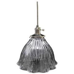 1920s Holophane Glass Ribbed Prism Shade Pendant Light