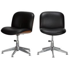 Pair of Ico Parisi Office Chairs in Walnut and Leather, 1960s