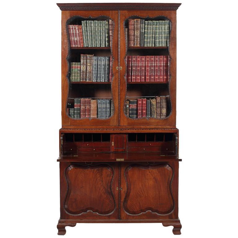 Early George III Mahogany Secretaire Bookcase