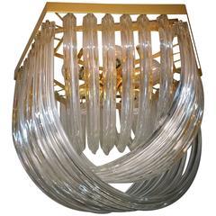Huge Impressive Venini Flush Mount, Curved Crystal Glass and Gilt Brass