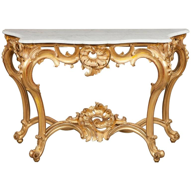French Giltwood and White Marble Console Table, 19th Century