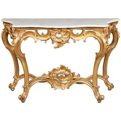 French Giltwood and Marble Console Table, 19th Century