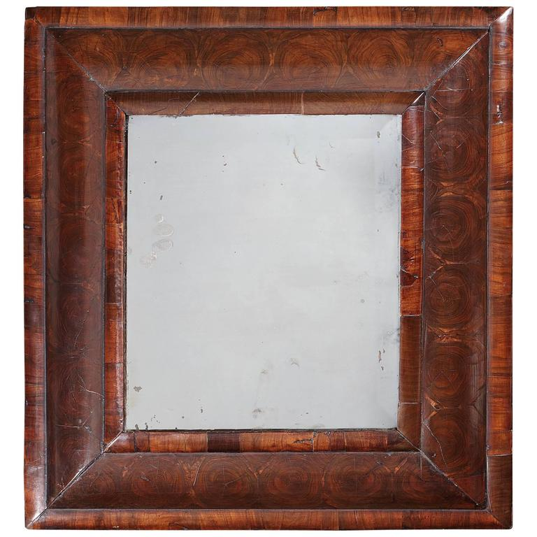 Small William and Mary Walnut Oyster Veneered Mirror For Sale