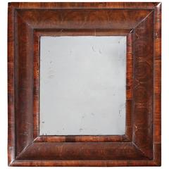 Small William and Mary Walnut Oyster Veneered Mirror